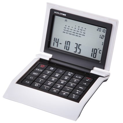 Bianco World Time Clock/Calculator White/Black