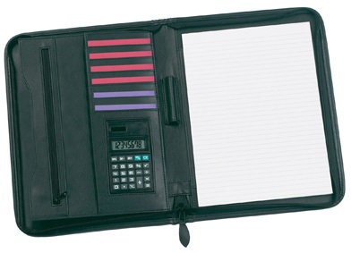 Swallow Zipped Folder Black/Black with pads and pens