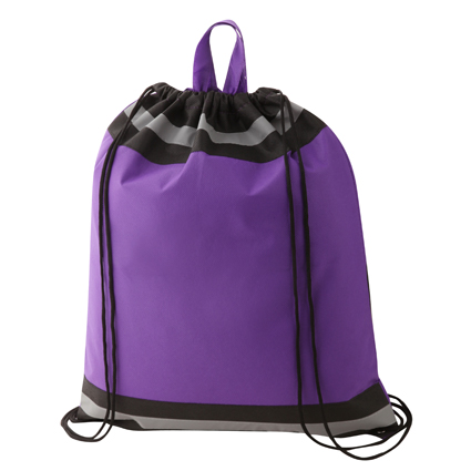 Non Woven Reflective Sports Bag Purple & Black
