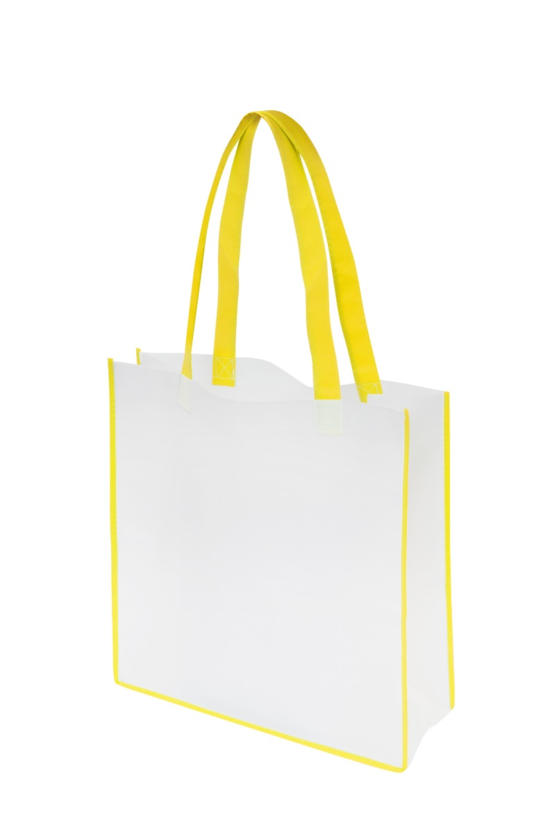 Non-Woven Convention Tote Bag - White/Yellow