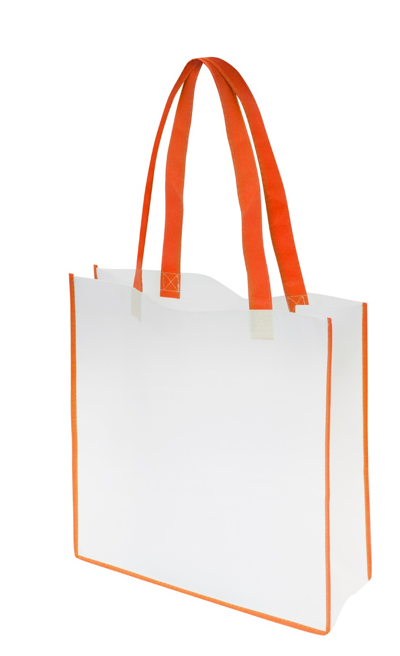 Non-Woven Convention Tote Bag - White/Orange