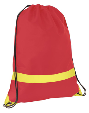 Large Tote/Sports Bag with Reflective Stripe Red/Yellow