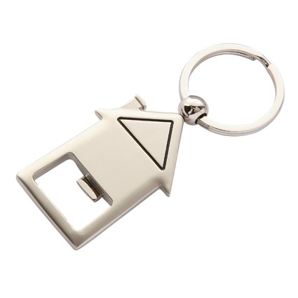 House Shaped Keyring/Bottle Opener - Silver/Silver