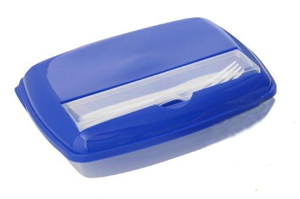 Lunch box with 3 sections Blue/Clear