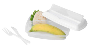 Lunch box with 3 sections White/Clear