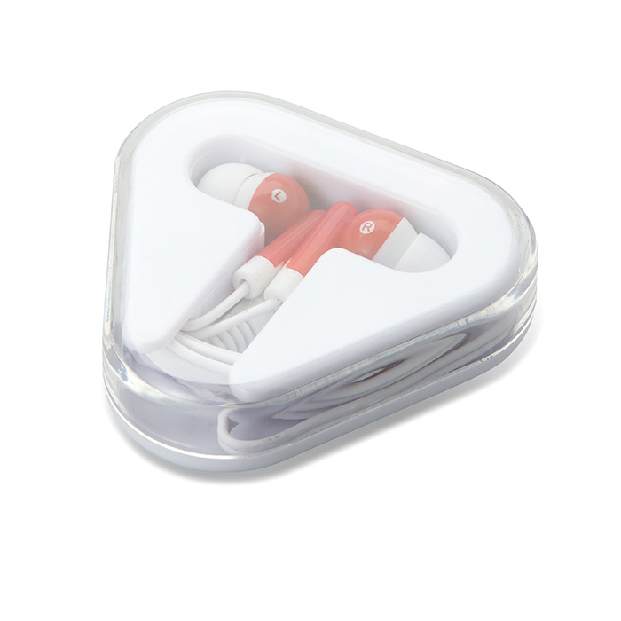 Earphones in triangular case