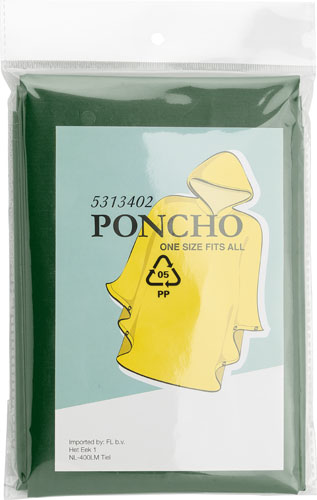 Poncho with hood, Open size approximately 100x120 cms.
