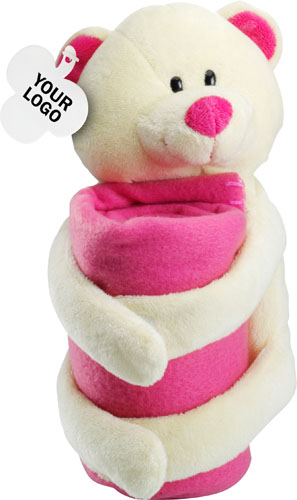 Soft bear and fleece blanket
